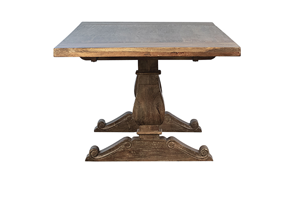 Trestle dining table with extensions side view