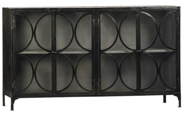 black metal glass cabinet