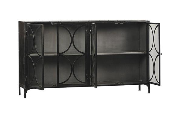 black metal glass cabinet with open doors