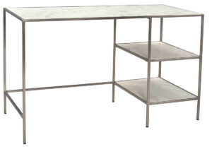 Brevick White Marble and Iron Desk