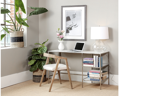 white marble desk in office setting
