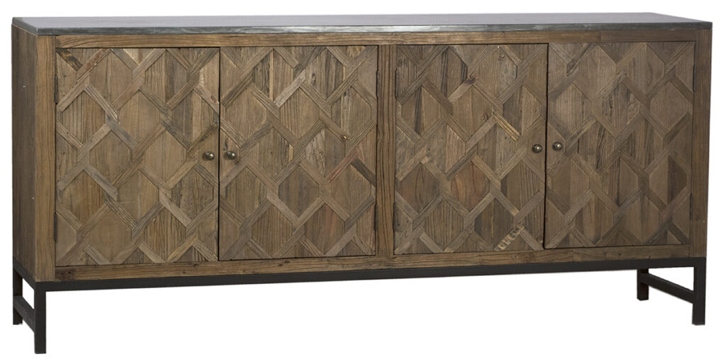 Visby Reclaimed Wood and Iron Media Cabinet