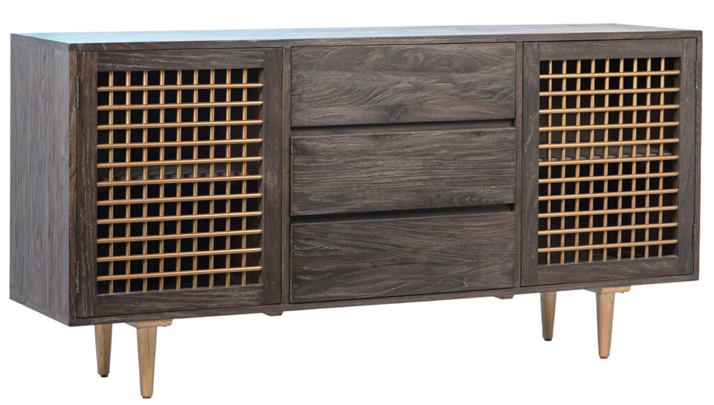 Perez Wood and Brass Media Cabinet