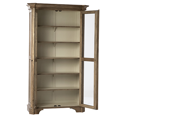 Tall bookcase with glass doors and 5 interior shelves