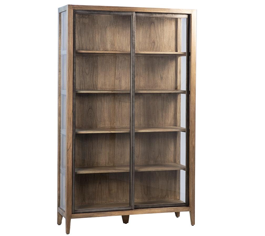 Aiken Mindi Wood Glass Cabinet