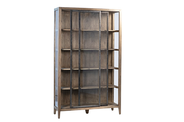 Tall wood cabinet with glass doors front view