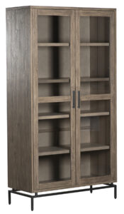 Wynn Grey Wash Wood Glass Cabinet