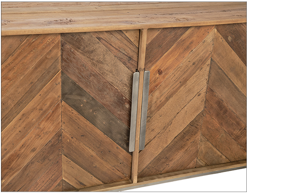 herringbone design sideboard close up