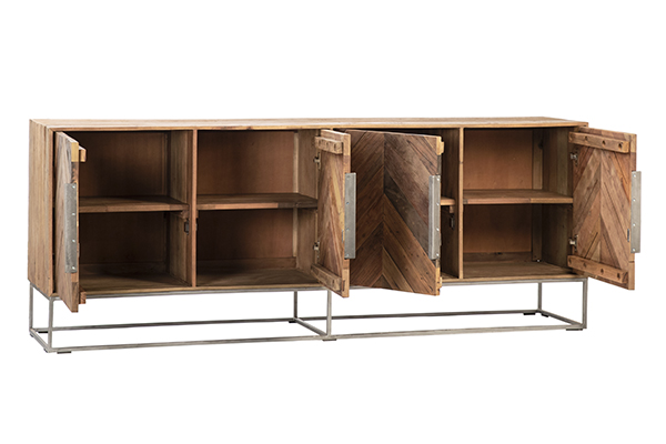herringbone design sideboard with open doors