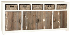 Barkley Vintage Grey and White Sideboard with Baskets