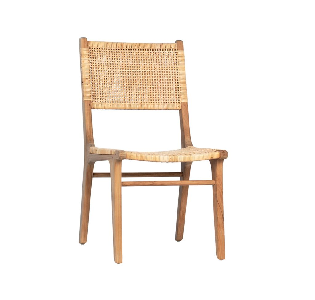 Teak and Rattan Dining Chair (set of 2)