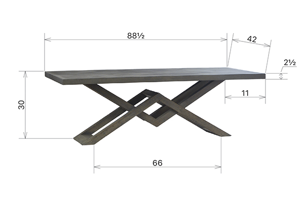 Dining table with concrete laminate top and wood base