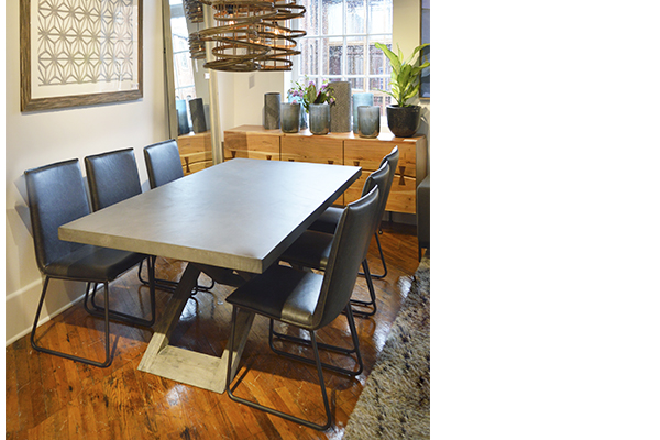 Kane dining table with concrete laminate top in dining room setting
