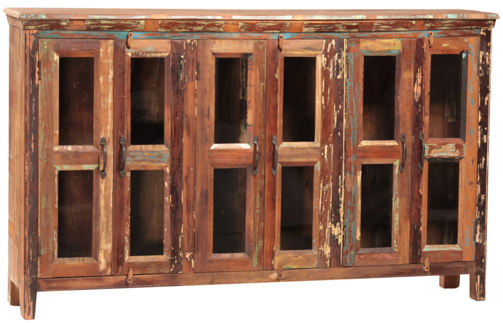 Nantucket Distressed Wood Media Cabinet