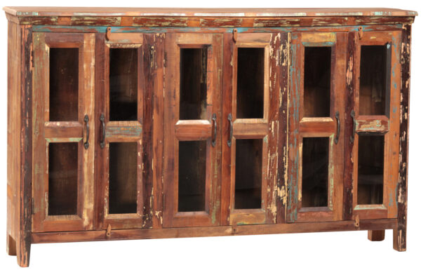 distressed wood glass cabinet