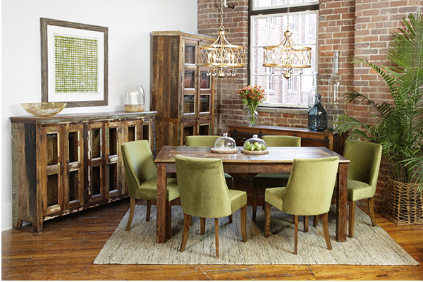 distressed wood glass cabinet in dining room setting