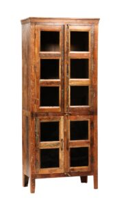 84″ Reclaimed Wood Glass Nantucket Cabinet