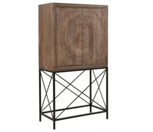 Wood and Iron Wine Cabinet