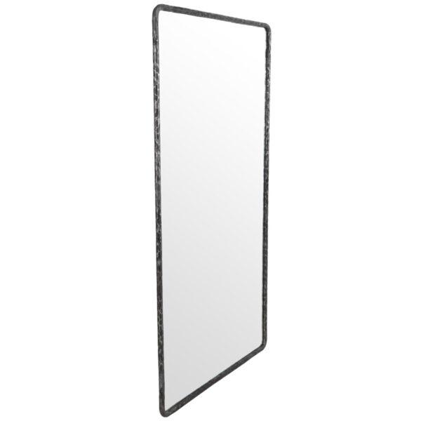 hammered metal frame mirror side view