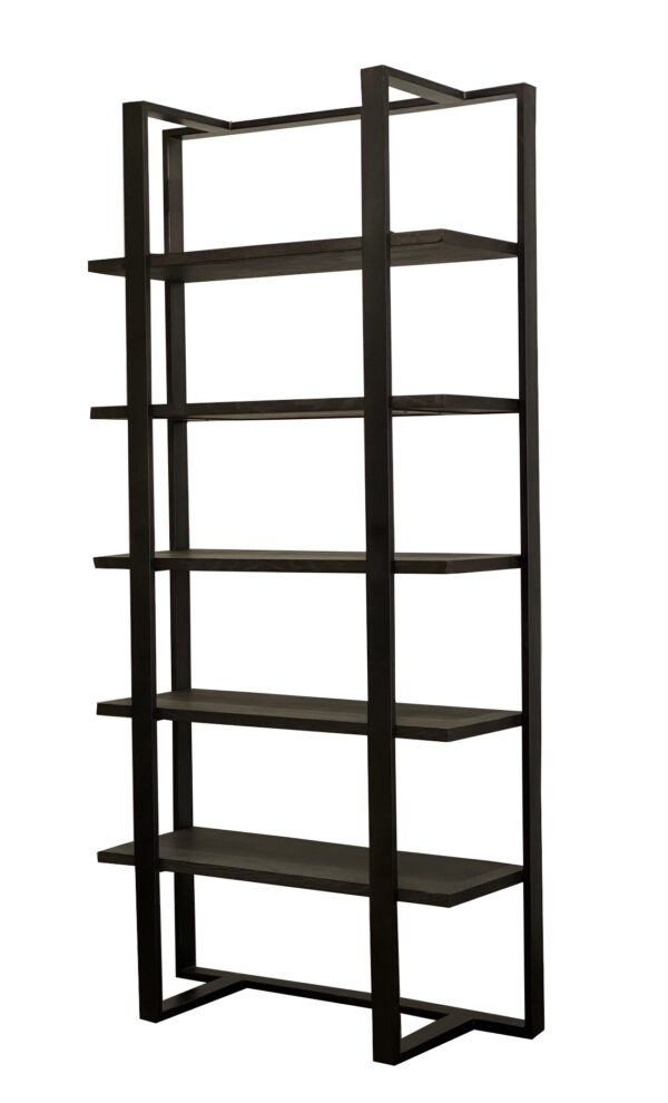 dark grey wash wood and iron bookcase back view