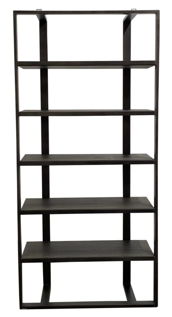 Tall Bookcase with Iron Frame and Oak Shelves