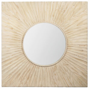 Melrose Grey White Wash Square Wood Mirror