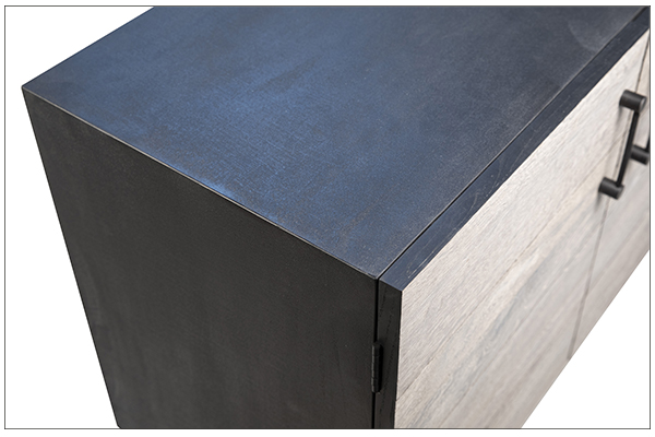 grey wood and black body sideboard top view