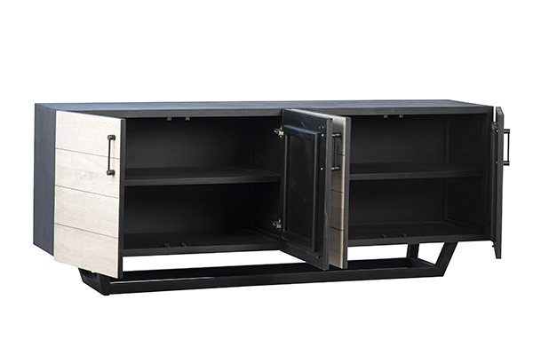 grey wood and black body sideboard with open doors