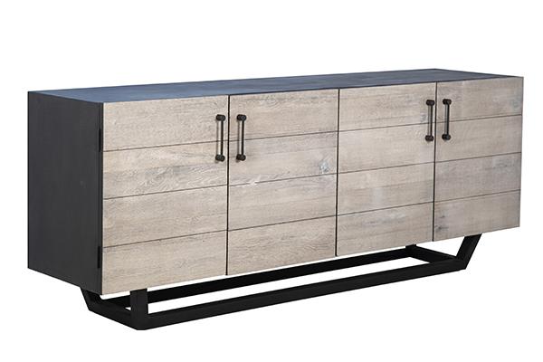 grey wood and black body sideboard