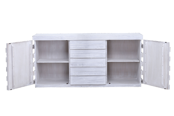 white wood sideboard with open doors