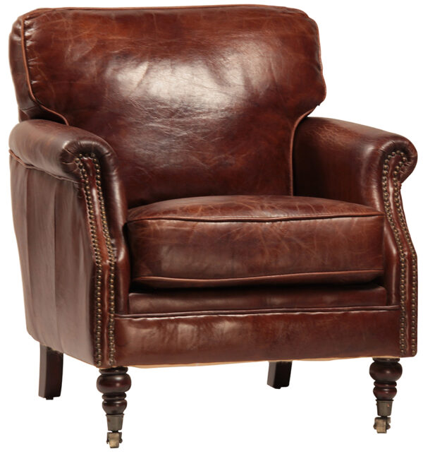 Brown leather chair on casters