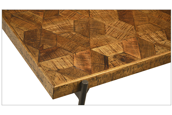 parquet top wood coffee table close up