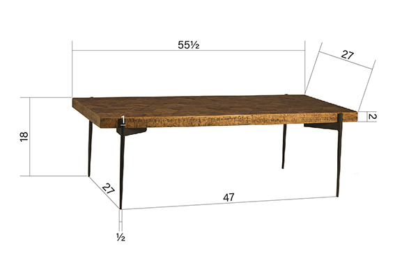 parquet top wood coffee table side angle
