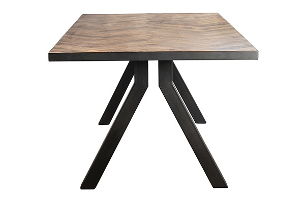 mango wood dining table with herringbone design side view