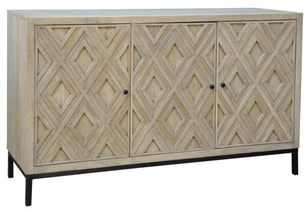 reclaimed wood and iron sideboard with carved doors side view