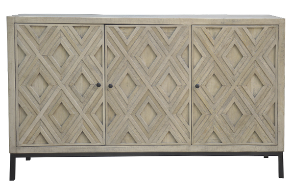 reclaimed wood and iron sideboard with carved doors