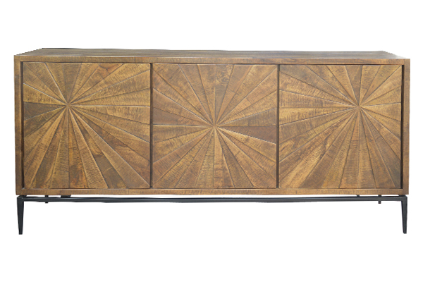 reclaimed medium brown wood sideboard front view