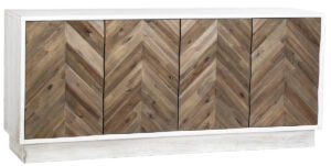 Buzet Wood Sideboard with Chevron Design