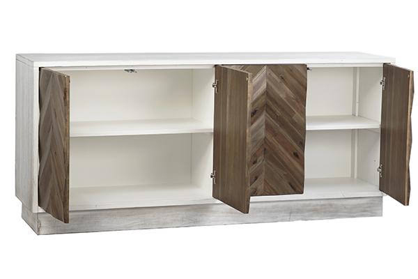 chevron door design sideboard with open doors