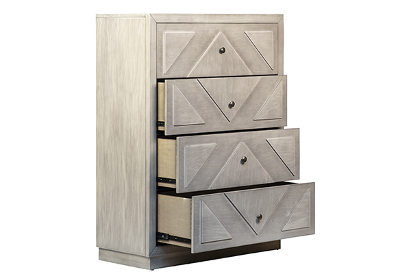 tall grey wash wood dresser with open drawers