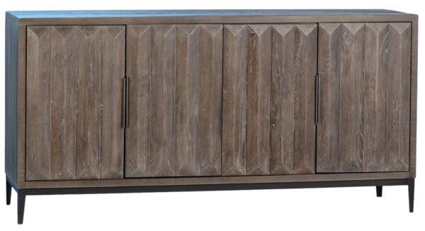 Grey wood sideboard with iron base