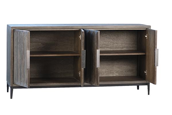grey wood sideboard with open doors