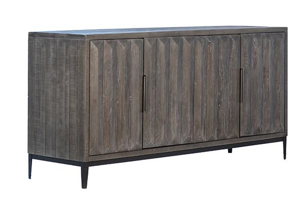 grey wood sideboard and iron base