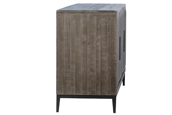 grey wood sideboard side view