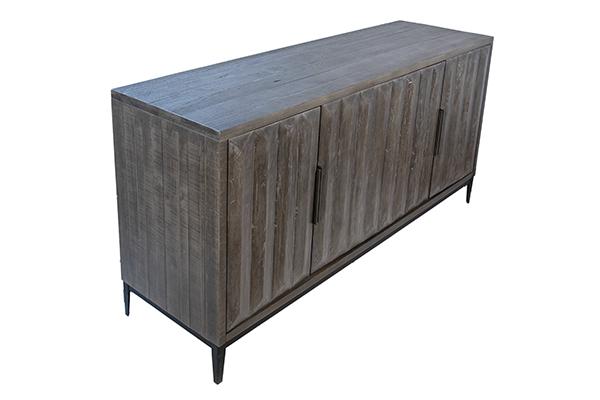 grey wood sideboard top view