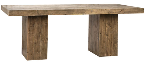 reclaimed pine wood dining table with square base