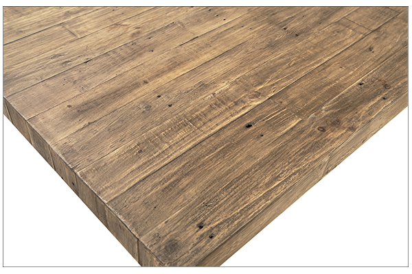reclaimed pine wood dining table with square close upe base