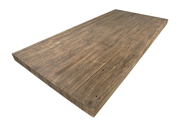 reclaimed pine wood dining table with square base top view