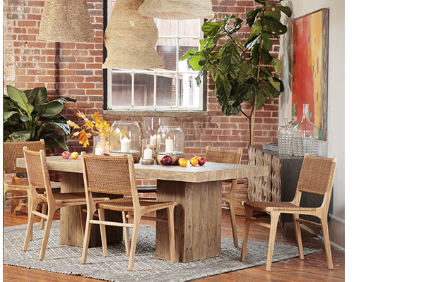 reclaimed pine wood dining table with square base living room setting