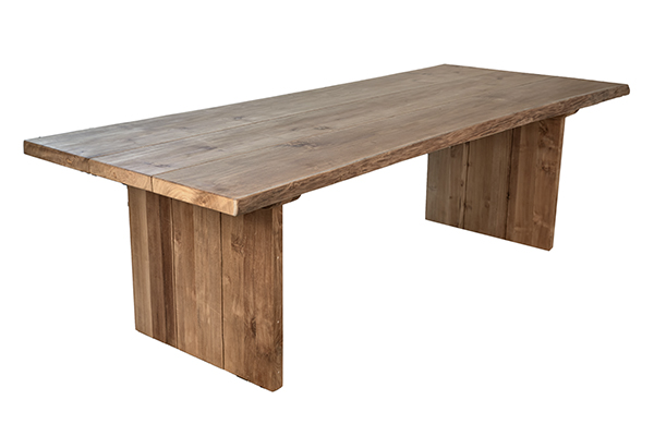 Large teak dining table outdoor side view